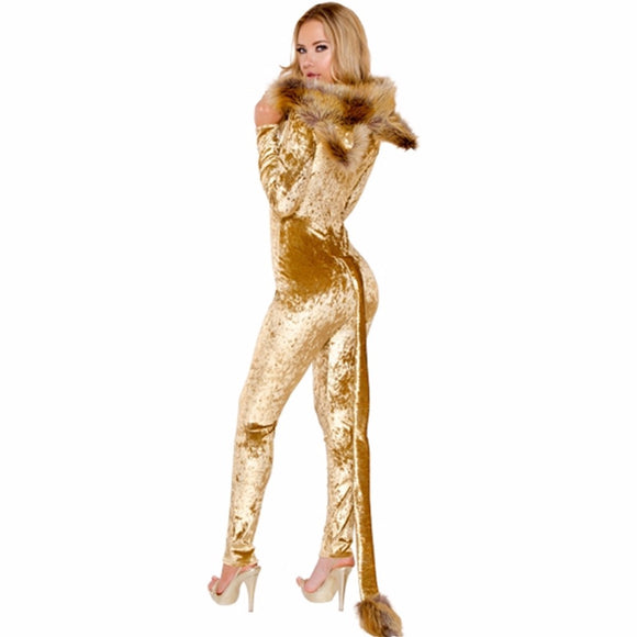 Deluxe Lion Costume Halloween animal cosplay costume Jumpsuits Set women adult cos animal costume Body Suit