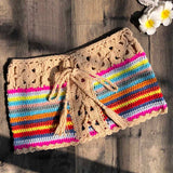 Mixed Colorful Stripe Knitted Crochet Shorts Women Fashion 2019 Summer Elastic Low Waist Shorts Beach Tight Shorts Bottom
