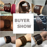 Handmade Fashion Wide Genuine Brown / Black Cuff Leather Bracelet & Bangles Braided Wristband Unisex Adjustable Men Jewerly
