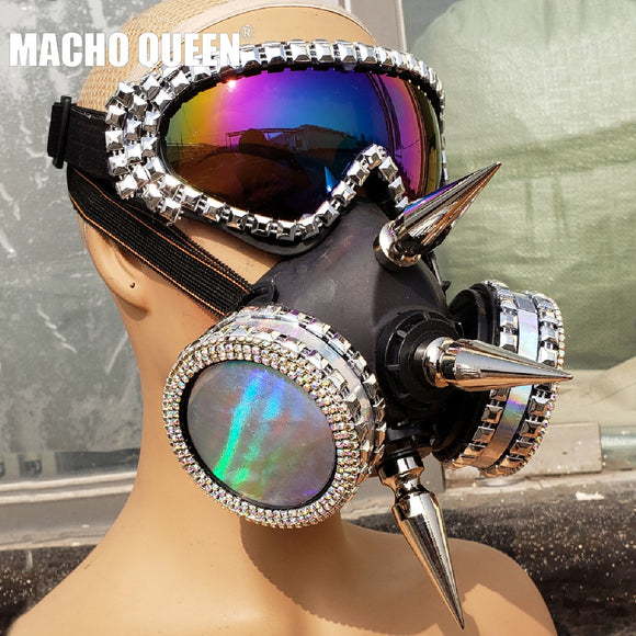 Holographic Iridescent Streampunk Burning Man Accessies Spike Mask Costume Fashion Stage Show Summer Festival Rave Outfits Gear