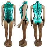 Holographic Lace Up Bodysuit (9 Colors)
