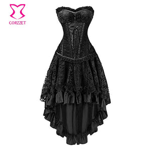 Steampunk Steel Boned Overbust Corset Dress