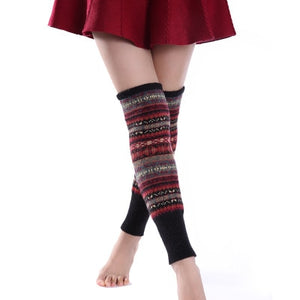 Winter Over Knee Long Knit cover Crochet Leg Warmers Legging Chic Warm Striped Calentadores Pierna Mujer Thigh Stulpe Legwarmers