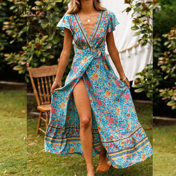 Boho Pastel Floral Print Maxi Dress (3 Colors)