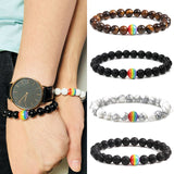 2019 new 1pcs Pride Beaded Gay Peace Rainbow Couple Bracelet Jewelry Women Gift Men Stone hot sale