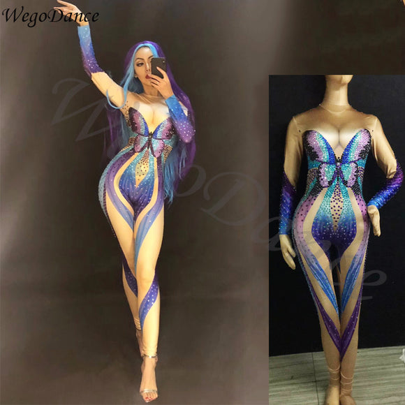 Sexy Mesh Multicolor Rhinestones Mesh Jumpsuit Long Sleeve Stretch Leggings Singer Costume Women's Dance Birthday costumes