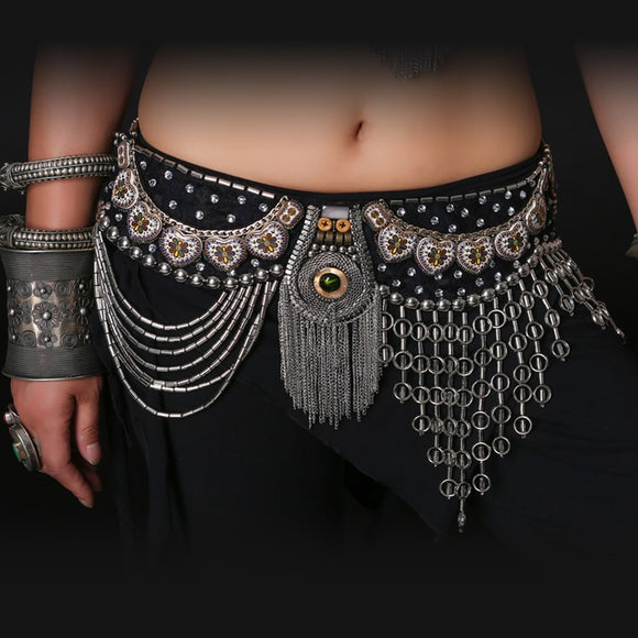 Professional Belly Dance Tribal Waist Belt 80/90cm Adjustable Fit Antique Bronze Beads Metal Chain Belt for Tribal Belly Dance