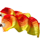 Handmade Bamboo Ribs Dance Props Silk Belly Dance Fan Natural Silk 1 Pc Left hand+1 Pc Right Hand Dance Silk Fan Rainbow stripes