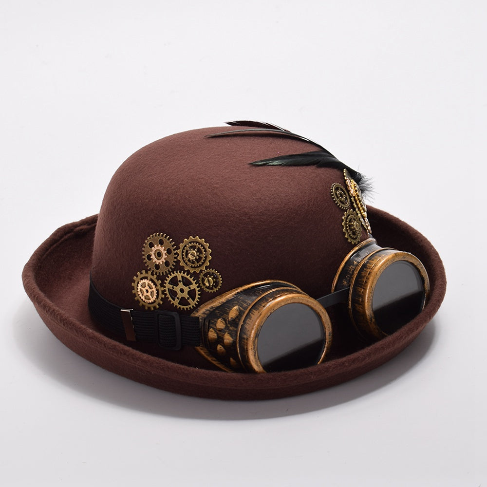 Handmade Steampunk Fedora Hat With Goggles (Brown Black) – BMEssentials f3bf92e5662