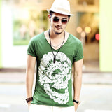 Men's Skull Print Deep V-Neck T-Shirt