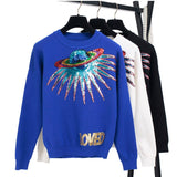 Women's Retro Sequin UFO Loved Knitted Pullover Sweater