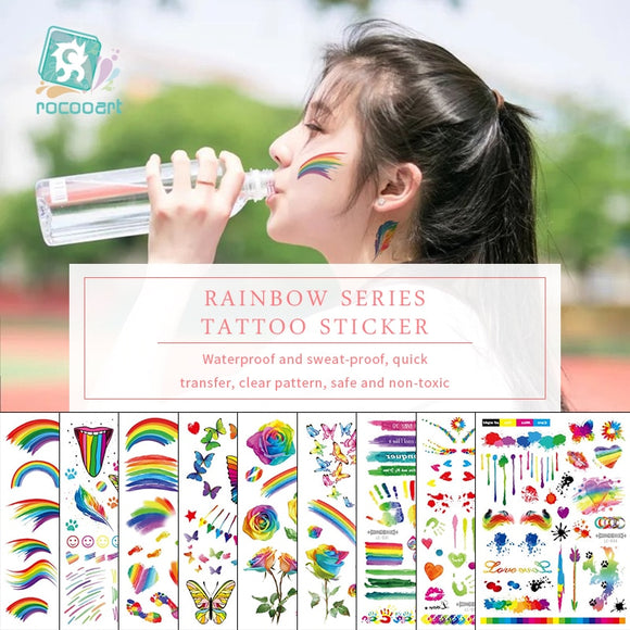 Rocooart Rainbow Tattoo Stickers Shimmer Flowers Taty Colorful Butterfly Fake Tattoo Feathers Temporary Tattoo Stickers For Body