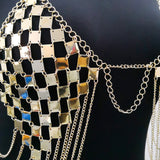 Sexy Women Metal Chest Chain Patchwork Sequins Crop Tops Halter Hollow Tank Backless Bra Party top
