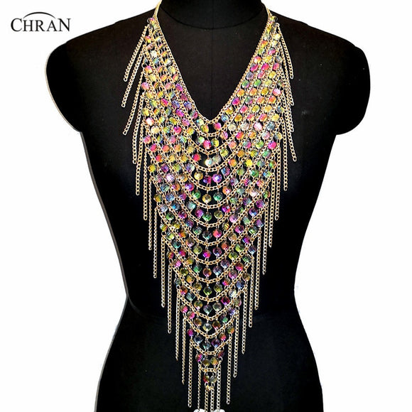 Chran Acrylic Gem Tassel Fringe Statement Necklace Chain Harness Shoulder Necklace Festival Dress Decor Ibiza EDM Jewelry CRS427