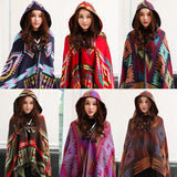 Stylish Women Bohemia ethnic printed Hoodie Cape Poncho Acrylic Wool Shawl Scarf Fashion Girls Sweater Fringe Hooded Wraps