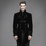 Devil Fashion Gothic Palace Men's Swallowtail Jackets Steampunk Black Red Autumn Winter Casual Long Coats Velvet Overcoats