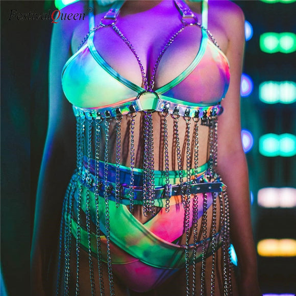 Women Sexy Halter Caged Harness Bra Holographic Garter Set Festival Clothing Tassel Chain Waist Belts Rave Costume Two Piece Set