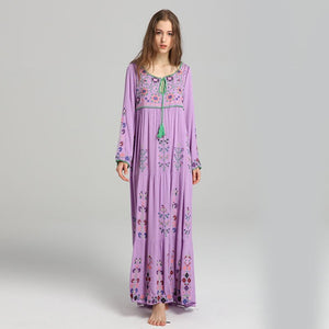Summer new Europe and America travel Bohemian island holiday exquisite embroidery V collar tassel loose dress