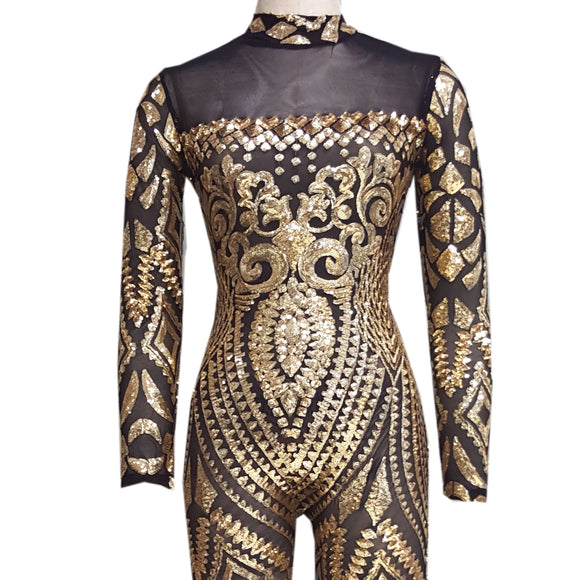 2017 Womens Vintage Jumpsuit Romper Sexy Black Gothic Tattoo Sequin Jumpsuit Women Long Sleeve Sequined Women Bodysuit Catsuit