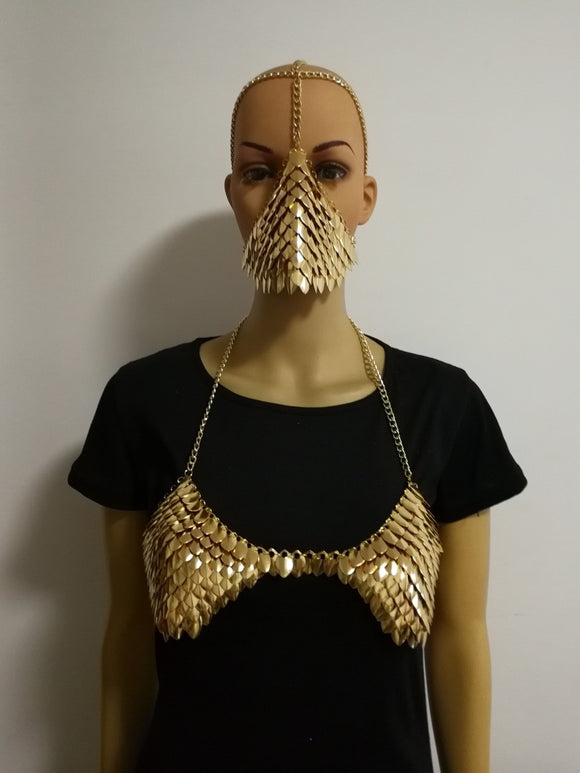Scalemail Armour Chain Headdress Mask Bra Shoulder Pads