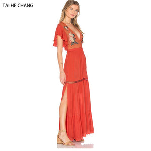 women high-end vestidos elegant vintage bohemian runway beach party sexy Embroidery Loose maxi long summer v-neck dress