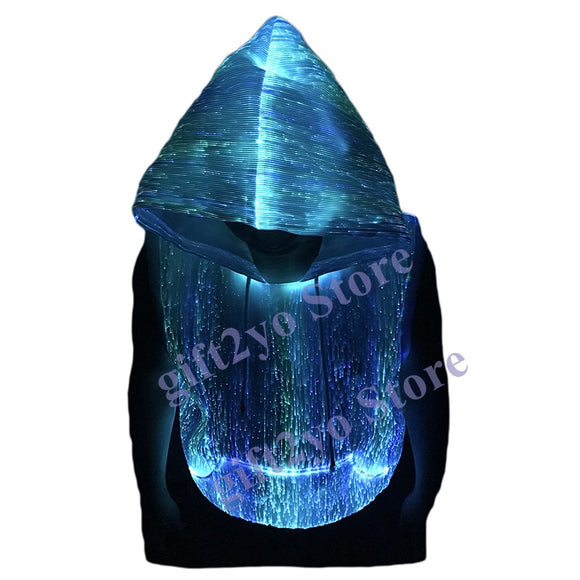 Fiber Optic Light up Sleeveless Costume Pullover Hoodie Luminous Glow Hooded Vest T Shirt Sweatshirt LED Clothing for Club Party