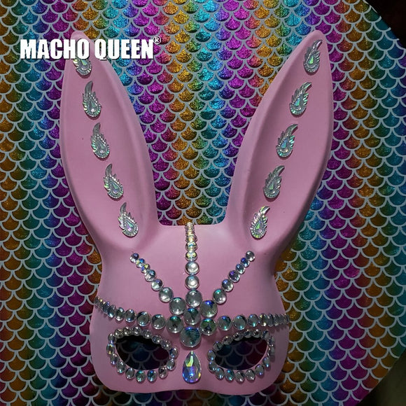 Pink Bunny Ears Iridescent Rhinestone Face Mask