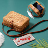 Handmade Rattan Woven Round Women Crossbody Bag Vintage Retro Straw Square Box Messenger Bag Lady Summer Cute Beach Shoulder Bag