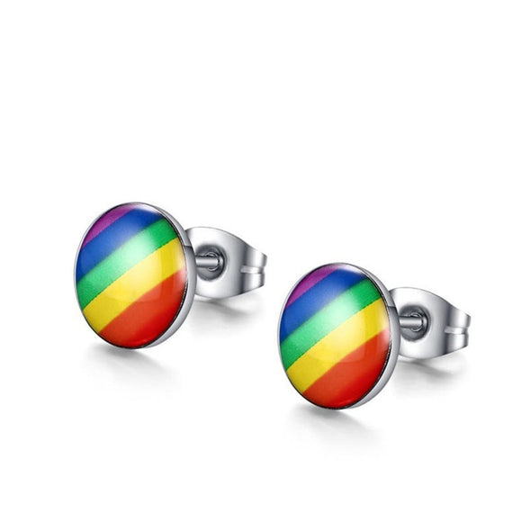 LGBT Rainbow Flag Earring Gay Pride Charm Stainless Steel Ear Studs for Men Women Fashion Jewelry Brincos Gift #277900