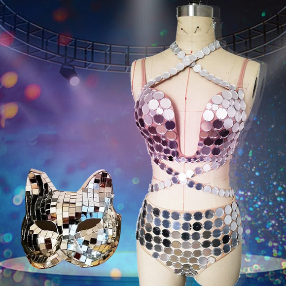 New Shiny Mirror Costume Women Dancer Costume Fox Mirror Mask ds Party Festival Outfit Stage Clothes For Female Singers VDB664