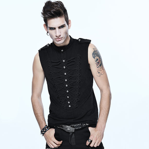 Devil Fashion Gothic Black Sleeveless O-Neck Single Breasted Men Vest Steampunk Summer Handsome Tops Shirts