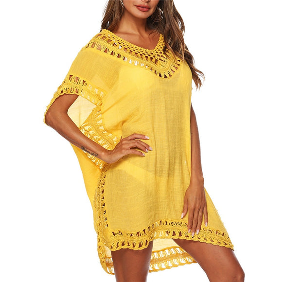 Sexy Women Loose Beach Dress Tunic Solid Bikini Cover UP Swimsuit Beachwear Swimwear Hollow Out Beach Dress Robe De Plage