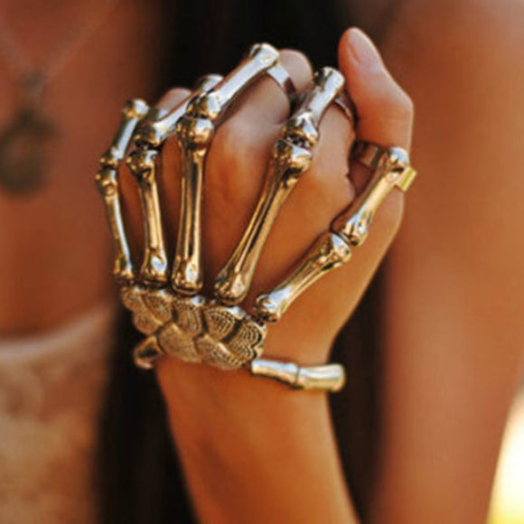 Steampunk Bracelet Jewelry Pulseiras Pulseira Skull Skeleton Bone Hand Finger Bracelets & Bangles For Women Halloween Jewelry