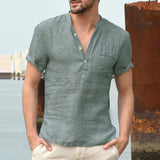 Men Shirts Short Sleeve Mandarin Collar V Neck Basic Button Loose Fit Camisa Masculina
