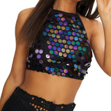 Backless Sequin Crop Halter Top