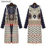 Women's Long Hooded Ethnic Knitted Cardigan Sweater