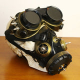 Black Plastic & Bronze Metal Rivet Retro Rock Full Face Respirator Gas Mask Goggles Halloween Gothic Accessories Steampunk Props