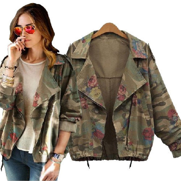 2015 New Women's Camouflage Jackets Coat Zipper Denim Coats Army Green Outerwear S-2XL