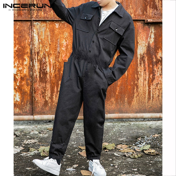 INCERUN Fashion Men Cargo Overalls Punk Style Hip-hop Pockets Pants Loose Solid Long Sleeve Rompers Men Jumpsuit Streetwear 2019