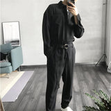 Black  Baby Jumpsuit Casual Loose Mens Rompers Long Sleeve Belt Bodysuits Quality Single Breasted Pants Men'S Trousers A5210