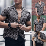 Feitong Men Shirt Multi Color Lump Chest Pocket Short Sleeve Round Hem Loose Shirts Camisas masculina Black shirt