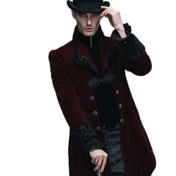 Steampunk Winter Jacket Men Outwear Black Red Long Sleeve Men's Gothic Windbreakers Mens Softshell Court Royal Coats And Jackets
