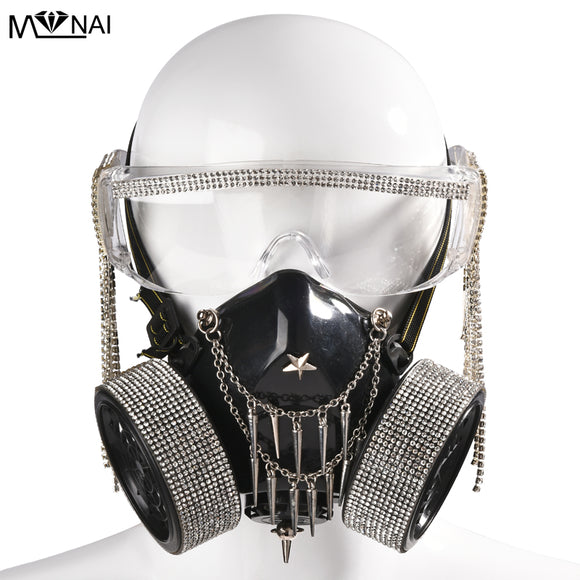 Steampunk Glasses Gas Masks Crystal Tassel Glass Cosplay Props Gothic  Men Women Mask Retro Rivet Cosplay Mask Halloween Props