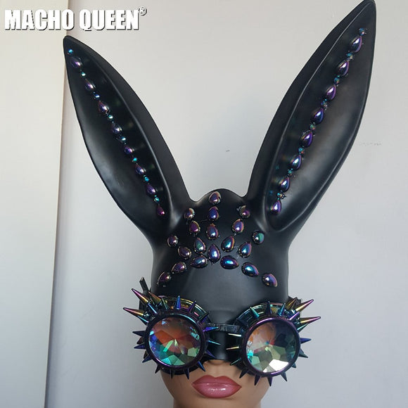 Holographic Crystal Bunny Ears Face Mask with Riveted Goggles