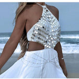 Sexy metal Chest chain Sequins Crop Tops Women Summer Beach Gold silver Halter Sparkling luxury Nightclub Party cropped Tank top