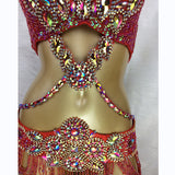 Elegant Crystal Rhinestone and Beaded Bralette+Belt+Choker (Silver/Red)