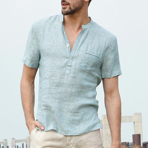 INCERUN Beach Hawaiian Casual Men Shirts Short Sleeve Henley Collar V Neck Basic Button Loose Fit 3XL Camisa Masculina Summer