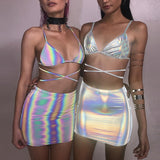 Holographic Iridescent Crop Top and Umbrella Skirt (2 Options)