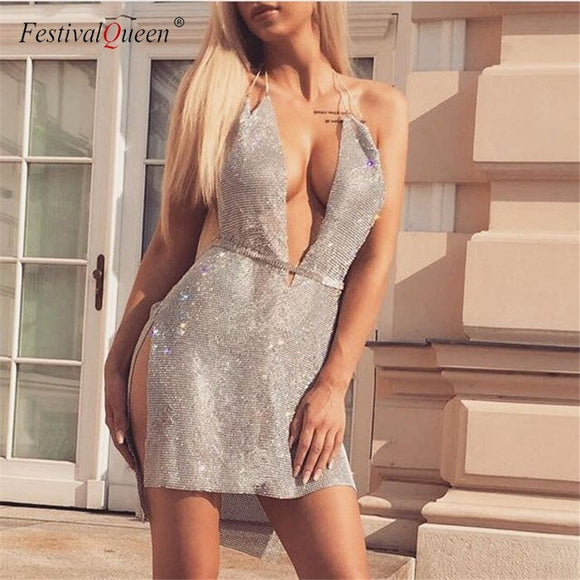 Metallic Rhinestone Deep-V Mini Slit Dress (4 Colors)