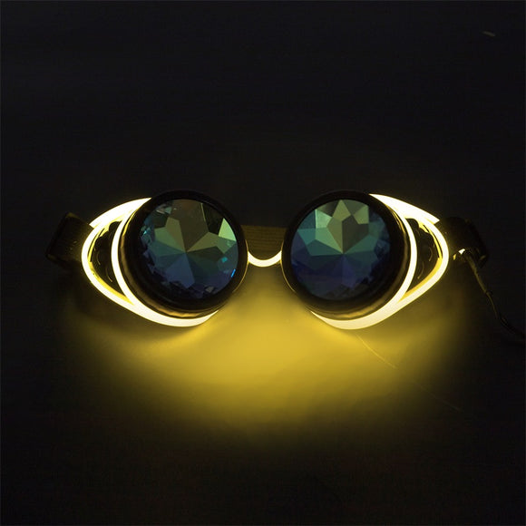 Kaleidoscope Rave Rainbow Crystal Lenses Steampunk Goggles Light Up EDM Festival Rave Party Cosplay Punk Vintage Glass Eyewear